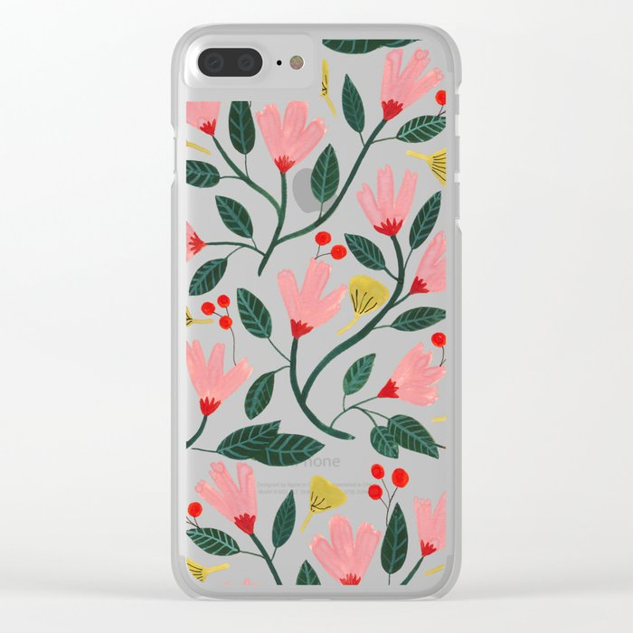 Pink Floral Pattern Clear iPhone Case