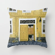 Yellow building Throw Pillow