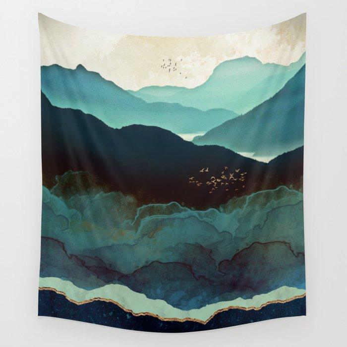Indigo Mountains Wall Tapestry