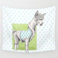 alpaca Wall Tapestries featuring Alpaca in a Coat by Floating Lemons