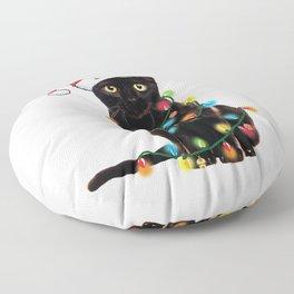 Santa Black Cat Tangled Up In Lights Christmas Santa T-Shirt Floor Pillow