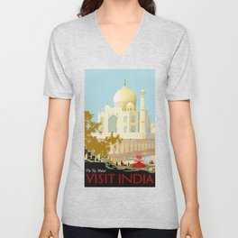 Visit India - Taj Mahal - Vintage Travel Poster Unisex V-Neck