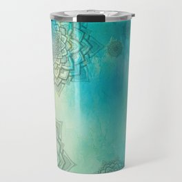 MANDALA COLLAGE ON Aqua Watercolor Travel Mug