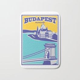 Budapest vintage poster, Chain Bridge Bath Mat