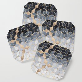 Soft Blue Gradient Cubes Coaster