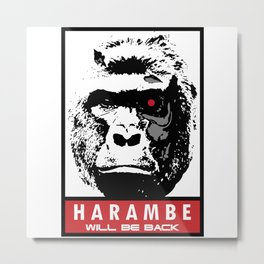 Harambe Will Be Back Metal Print