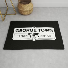 George Town Cayman Islands GPS Coordinates Map Artwork Rug