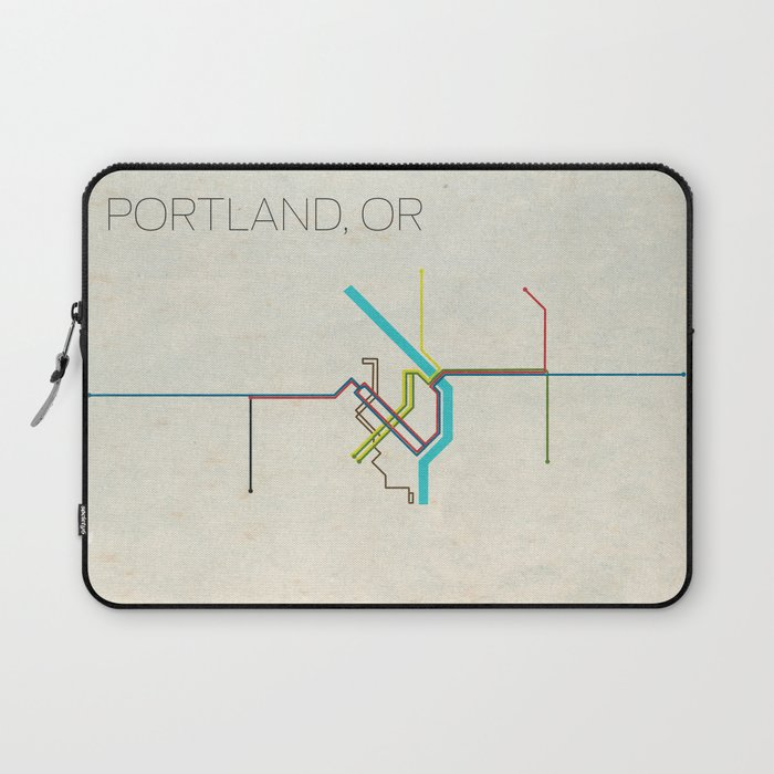Minimal Portland Or Metro Map Laptop Sleeve By Chrisnapolitano