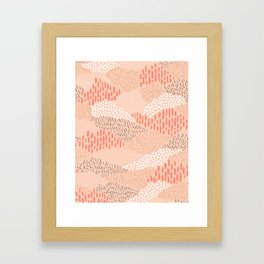 Dashes and dots in blush pink // abstract pattern Framed Art Print