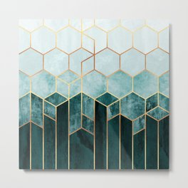 Teal Hexagons Metal Print