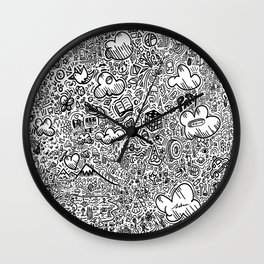 Crazy doodles Wall Clock