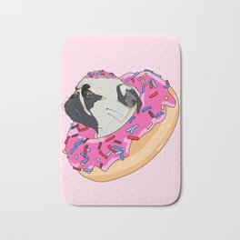 Pug Donut Strawberry Profile Bath Mat