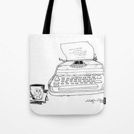 Earnest Hemingway Writing on Typewriter Tote Bag