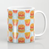 french fries Mugs featuring Hamburger and French Fries Pattern by haidishabrina