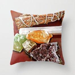Sage & Crystals Throw Pillow