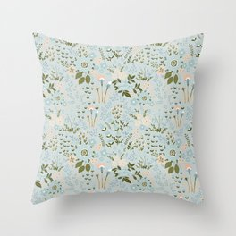 Star Sapphire Floral Celebration Moss Throw Pillow