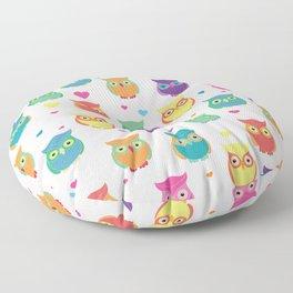 Rainbow Owl Cuties Floor Pillow