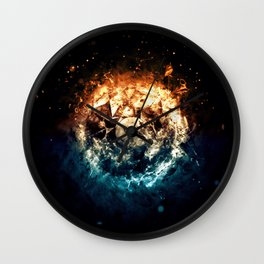 Burning Circle - Fire and Ice - Isolated Wall Clock