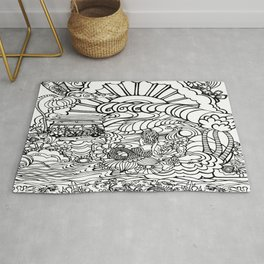 Beach Lover's Graphic Doodles Rug