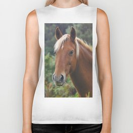 Wild Palomino Flaxen-maned New Forest Horse Biker Tank