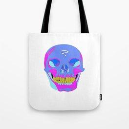 Neon Pixel Psychaedelic Halloween Skull  Tote Bag