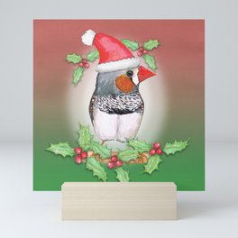 Zebra finch Christmas style Mini Art Print