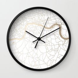 White on Gold London Street Map Wall Clock