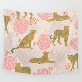 Pink Palm Tropical Cheetah Pattern Wall Tapestry