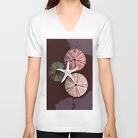 seashell V-neck T-shirts featuring seashell 6 by gzm_guvenc