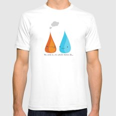 Water and Fire- A Tragic Love Affair White Mens Fitted Tee SMALL