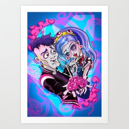 Zombie lovers sharing a brain Art Print