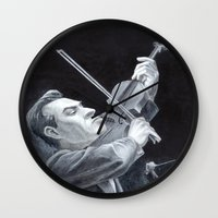 soviet Wall Clocks featuring A Soviet Violinist by Mark Schaeffer Studios