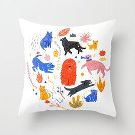Dog park Throw Pillow