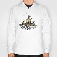 rowing Hoodies featuring Viking ship 2 by mangulica