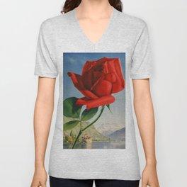 Fresh Red Rose Unisex V-Neck