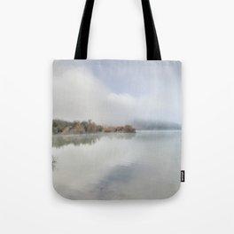Foggy lake. At sunrise Tote Bag