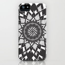GREY, BLACK AND WHITE FLOWER OF LIFE iPhone Case