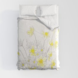 white daisy and yellow daffodils ink and watercolor Comforters