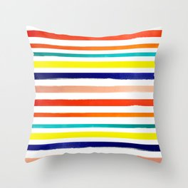 Bright Watercolor Rainbow Stripes Throw Pillow