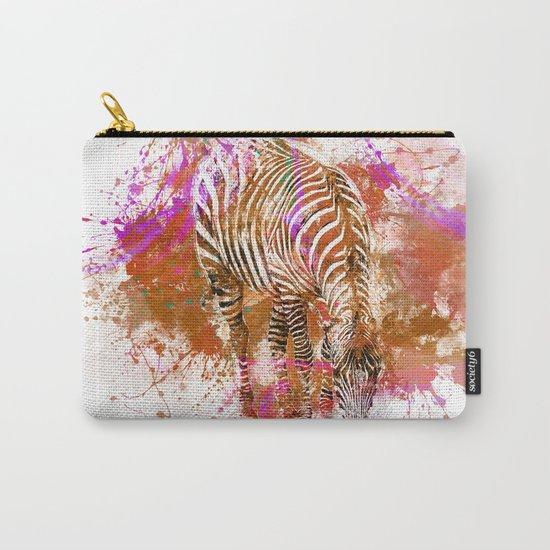 Crazy Zebra paint splatter artwork Carry-All Pouch