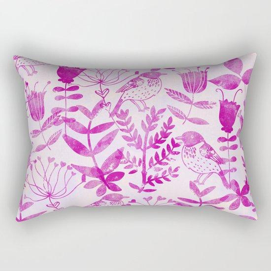 Watercolor Floral & Birds II Rectangular Pillow