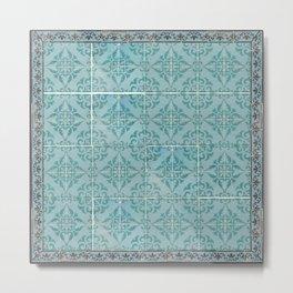 Victorian Turquoise Ceramic Tiles Metal Print