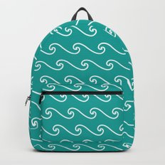 Wave Pattern | Teal and White Backpack