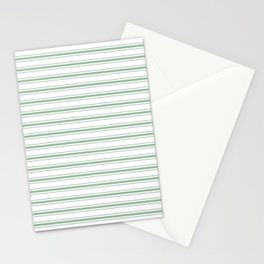 Moss Green and White Mattress Ticking Wide Striped Pattern Stationery Cards