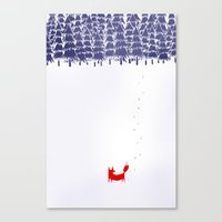 white Canvas Prints featuring Alone in the forest by Robert Farkas