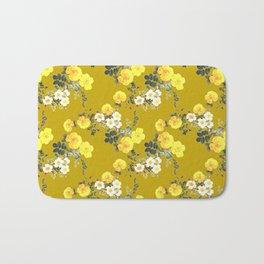 Mustard Floral /  Yellow Roses on mustard Bath Mat