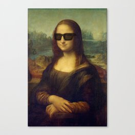 Hipster Mona Lisa in her Hipster Shades Canvas Print