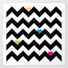 Heart & Chevron - Black/Multi Art Print