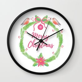 """Watercolor Holly Wreath """"Merry Christmas"""" Wall Clock"""