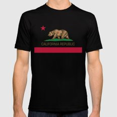 California Republic Flag, High Quality Image Black 2X-LARGE Mens Fitted Tee